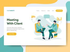 Landing page template of Business Meeting with Client Illustration Concept. Modern Flat design concept of web page design for website and mobile website.Vector illustration