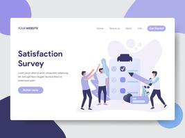 Landing page template of Satisfaction Survey illustration Concept. Modern flat design concept of web page design for website and mobile website.Vector illustration