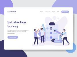 Molde da página da aterrissagem do conceito da ilustração da avaliação da satisfação. Conceito moderno design plano de design de página da web para o site e site móvel.
