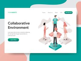 Landing page template of Collaborative Environment Illustration Concept. Isometric design concept of web page design for website and mobile website.Vector illustration