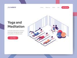 Landungseitenschablone des Yoga-und Meditations-Illustrations-Konzeptes. Isometrisches flaches Konzept des Entwurfes des Webseitendesigns für Website und bewegliche Website Vektorillustration ENV 10