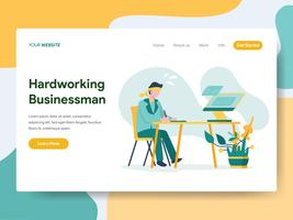 Landing page template of Hardworking Businessman Illustration Concept. Modern Flat design concept of web page design for website and mobile website.Vector illustration