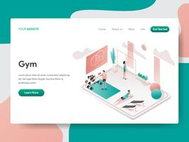 Modèle de page d'atterrissage de Gym Room Illustration Concept. Concept de conception isométrique de la conception de pages Web pour site Web et site Web mobile. Illustration vectorielle