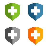 Set Gezondheidszorg Cross Shield Logo Template Illustratie Ontwerp. Vector EPS 10.