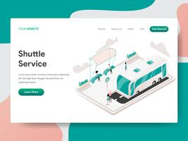 Plantilla de página de destino del concepto de ilustración del servicio de transporte. Concepto de diseño isométrico de diseño de página web para sitio web y sitio web móvil. Ilustración de vector