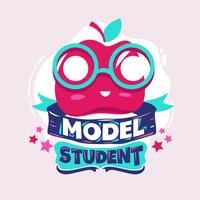 Model Student Phrase with Colorful Illustration. Back to School Quote