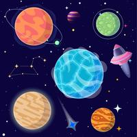 Set cartoon planeten en elementen van de ruimte. Vector illustratie