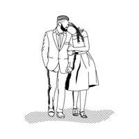 Beau couple à pied