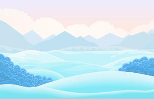 Vector winter horizontal landscape with snow capped valley. Cartoon illustration