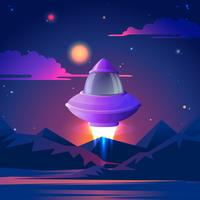 Spaceship starting to flz in the night stars. Vector illustration