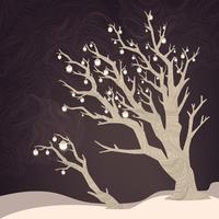 Nachtachtergrond met boom en lampen op het. Vector winter vakantie illustratie