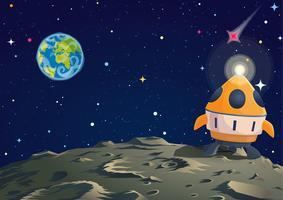 Terreno lunar com foguete e visão da Terra. Ilustração vetorial