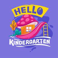 Hello Kindergarten Phrase with Colorful Illustration. Back to School Quote