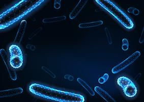 Fond de bacilles futuriste faible bactéries polygonales avec un espace pour le texte sur bleu foncé.