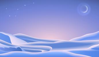 Christmas landscape with snow caps and crescent moon. Vector minimalists illustration