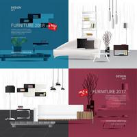 Two Banner Furniture Sale Design Template Vector Illustration