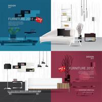Dos banner muebles venta diseño plantilla Vector Illustration