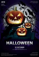 Halloween-Plakat-Schablonen-Design-Vektor-Illustration