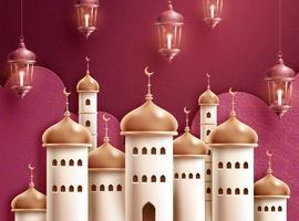 Lanternes suspendues avec mosquée d'or