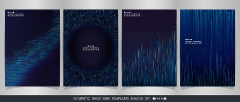 Futuristic stripe gradient blue lines  brochure set. vector