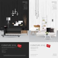 2 Vertical Banner Furniture Sale Design Template Vector Illustration