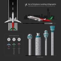Set av flygplan Landing Infographic med Control Tower Isolerade Vector Illustration