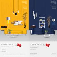 2 banner vertical muebles venta diseño plantilla Vector Illustration