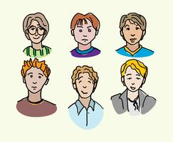 Hand Drawn Boy Avatars Vector