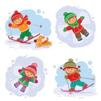 Stel vector winter pictogrammen met kleine kinderen