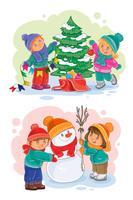 Iconos de niños pequeños decoran el árbol de navidad, haciendo un muñeco de nieve.