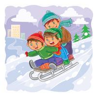 Drie kleine jongens rollen samen op slee van een heuvel