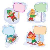 Metta le icone di inverno di vettore con i piccoli bambini