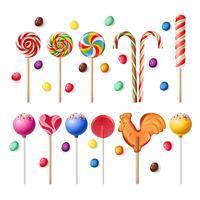 Samling av lollipops med olika mönster.
