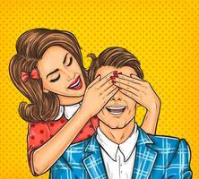 Kvinna nära ögonen till hennes man
