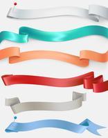Vector set di nastri di raso in diversi colori