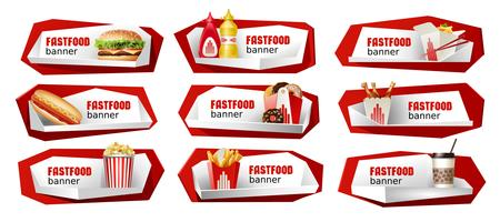 Set of fast food vector banners.