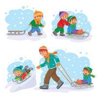 Définir des icônes d'hiver avec les petits enfants