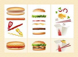 Poster con gli ingredienti per il fast food