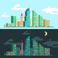 Conjunto de panoramas amplos a paisagem urbana
