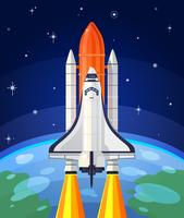 Vector illustration of a space rocket launch.