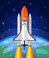 Vektor illustration av en rymd raket lansering.