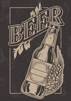 Vector vintage template for cold beer advertising.
