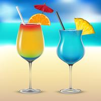 Set transparent vector cocktail glasses