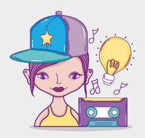 Joven cultura milenaria mujer caricatura