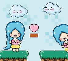 Cute pixelated videogame fantasy scenery vector