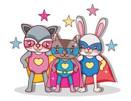 Dibujos animados de animales de superhéroes