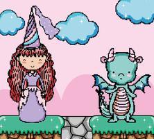 Joli décor fantasmatique de jeux vidéo pixelisés