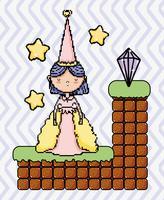 Paesaggio di fantasia di videogiochi pixel carino