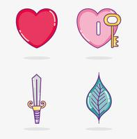 Set of love and hearts cartoons