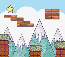 Retro videogame scenery vector